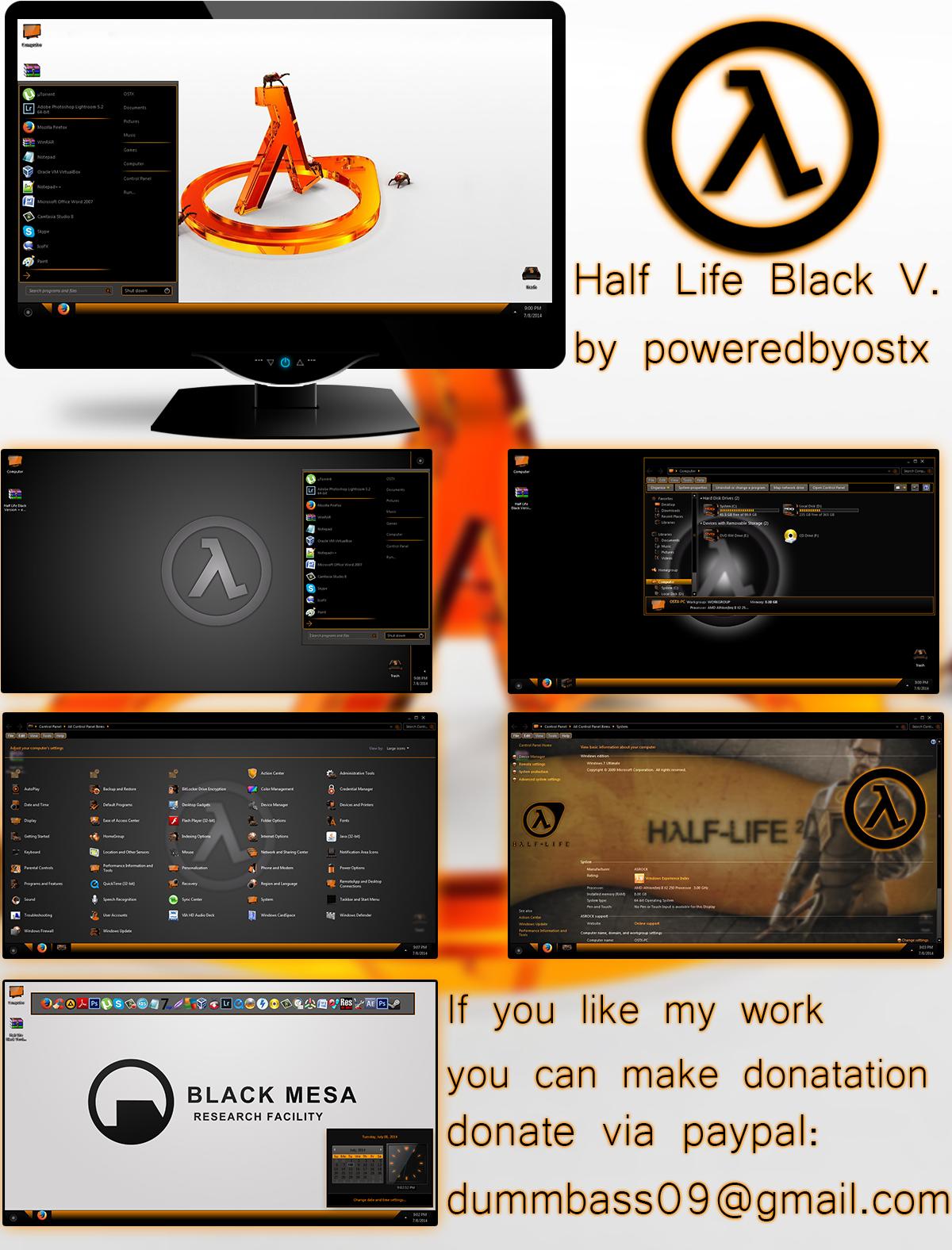 Half Life Black Version Windows 7 theme by poweredbyostx