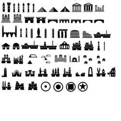 Map Symbols Photoshop Brushes: Castles etc.