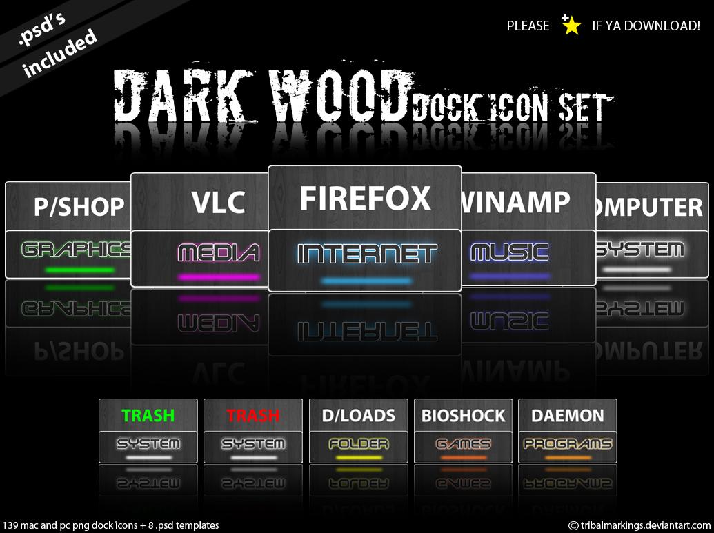 Dark Wood - Dock icon set