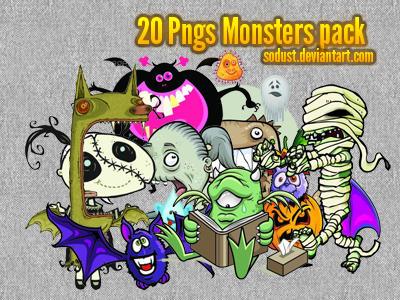 20 monsters pngs pack by sodust