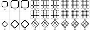 Rounded Squares - Grid Brush Set