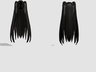 -MMD- Dark Pigtails by amiamy111
