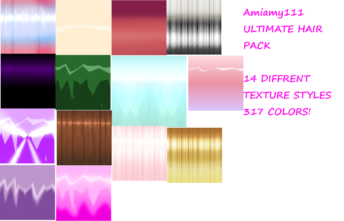 ULTIMATE HAIR TEXTURE PACK 14 styles 317 colors by amiamy111