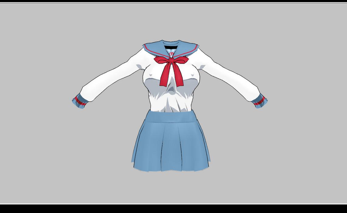 MMD Manga school uniform -large bust- by amiamy111