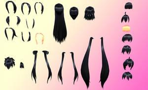 MMD Huge NJXA hair pack + NJXA Texture pack by amiamy111