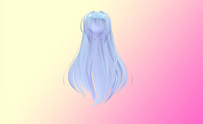 MMD Long fluffy blue hair by amiamy111