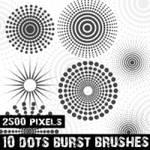 Halftone Dots Burst Photoshop Brushes