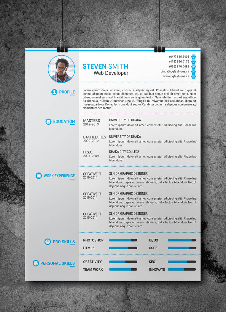 resume  cv template  free download  by arahimdesign on