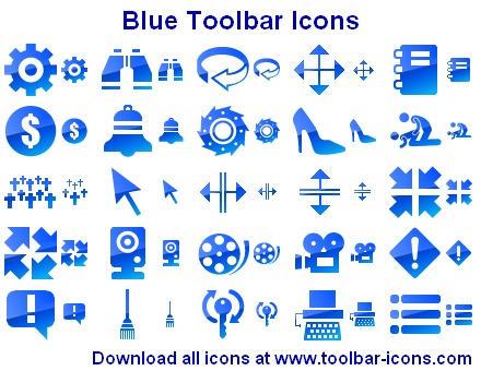 Blue Toolbar Icons by Ikonod