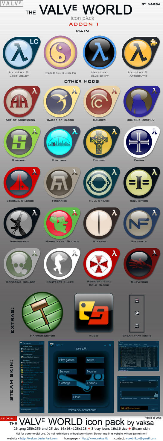 Valve World icon pack ADDon 1 by vaksa