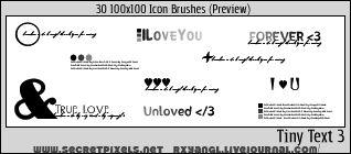 30:100x100 Tiny Text 3 Brushes