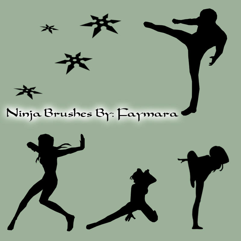 Ninja Silhouette Brushes by Faymara