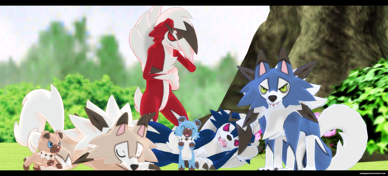 mmd sun and moon lycanroc and rockruff by kaahgomedl on