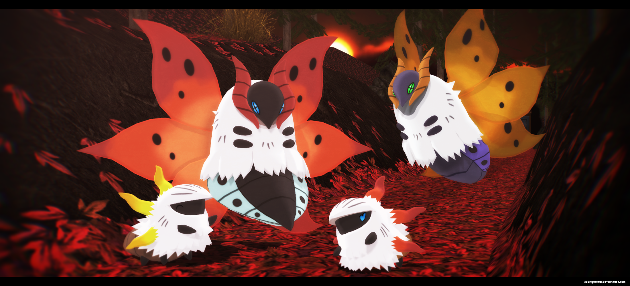 MMD Pokemon: Volcarona and Larvesta