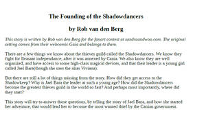 The founding of the shadowdancers