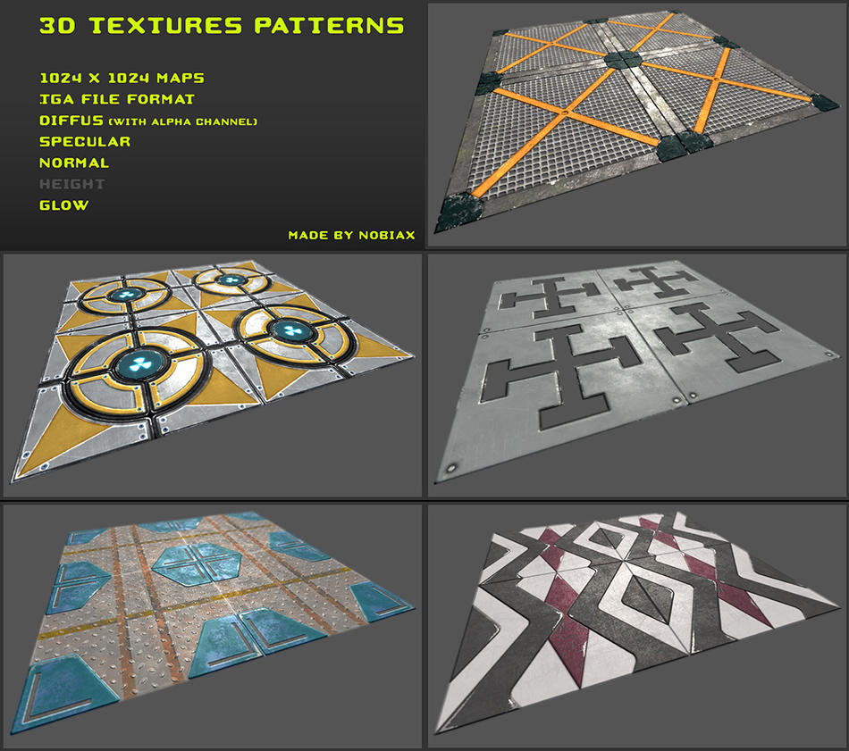 Free 3D Textures Pack 01 by Nobiax