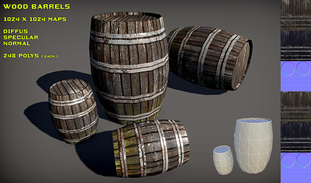Free Wood Barrel Pack by Yughues
