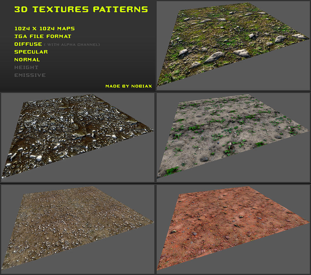 Free 3D textures pack 20 by Nobiax