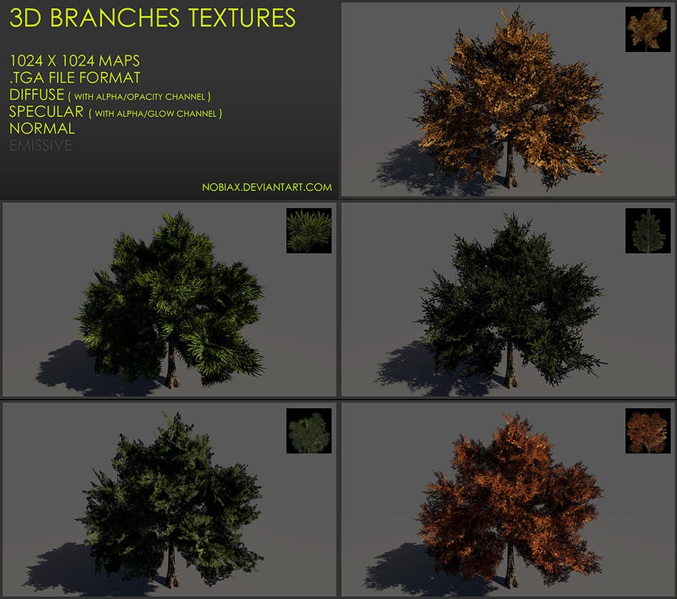 Free 3D branches textures 02 by Nobiax