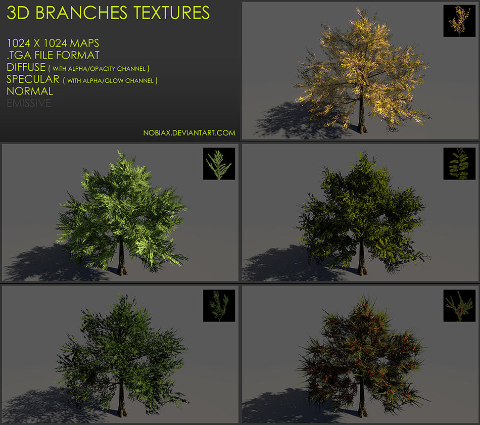 Free 3D branches textures 03 by Nobiax