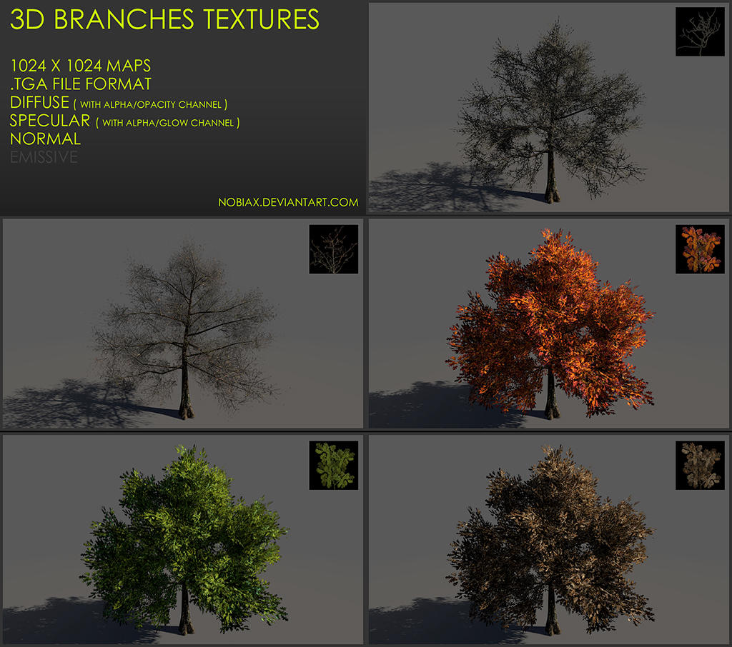 Free 3D branches textures 04 by Nobiax