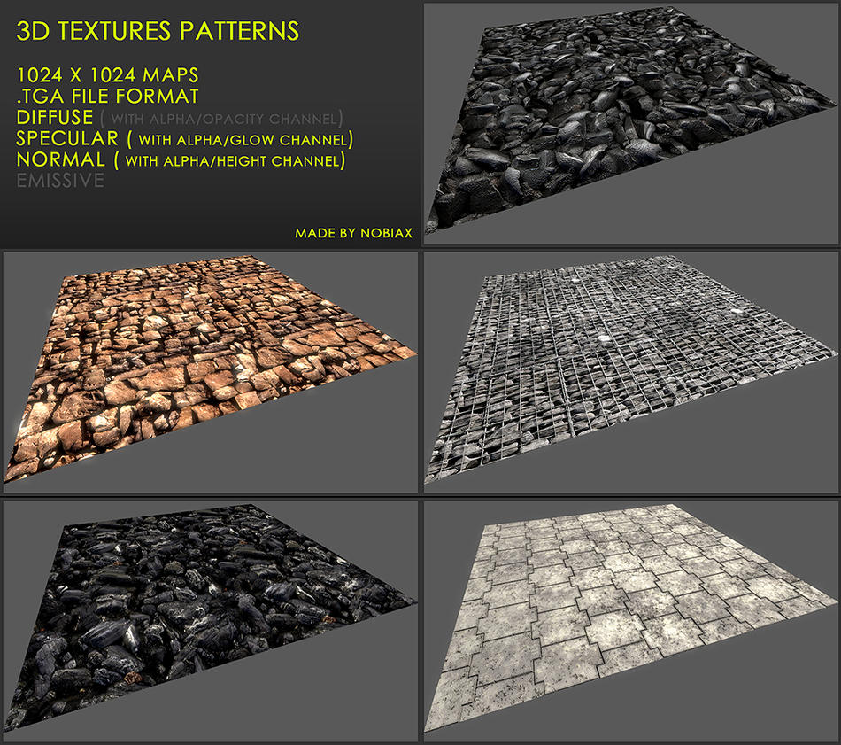 Free 3D textures pack 25 by Yughues