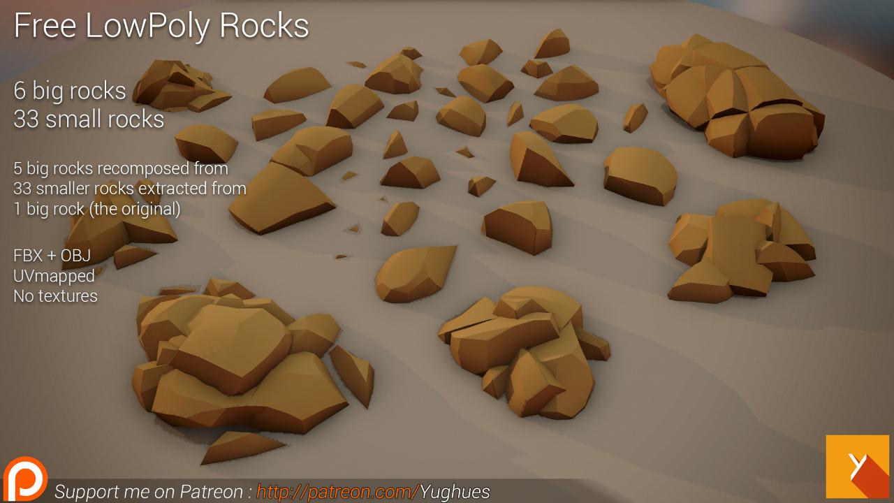 [Free] LowPoly Rocks set01