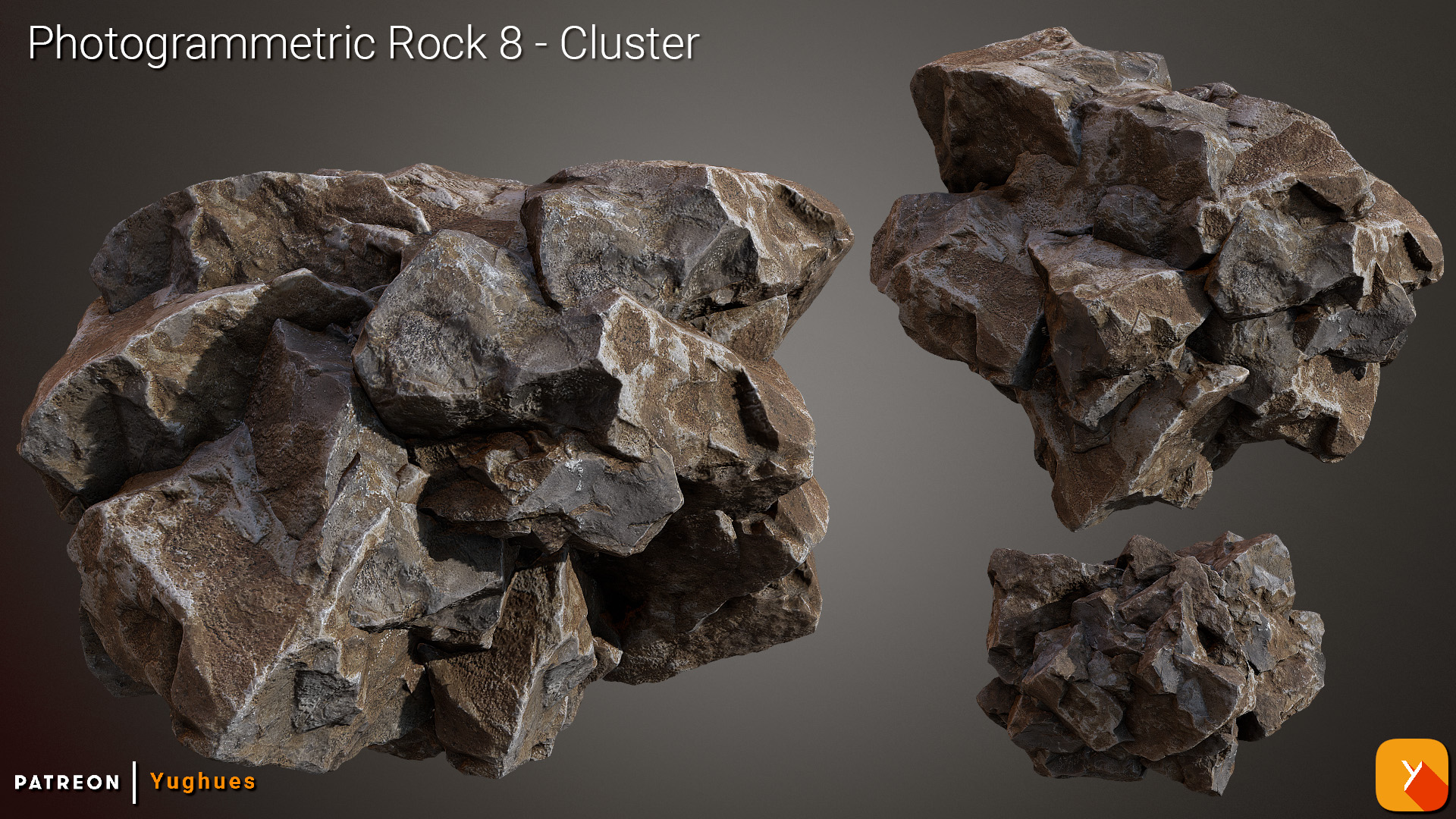 [Free] Photogrammetric Rock 8 - Cluster by Yughues