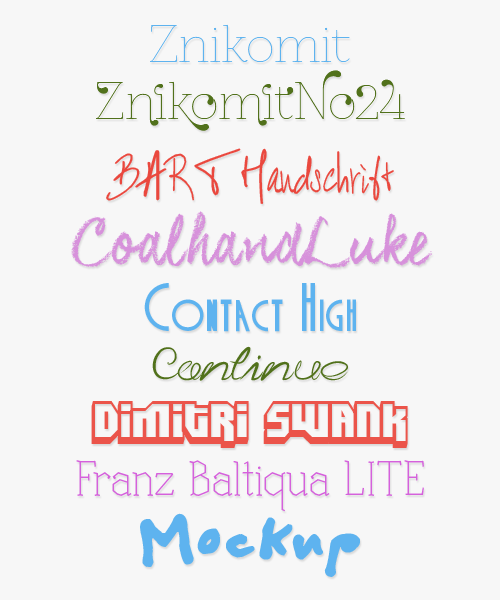 Font Pack 9 by NouNou01