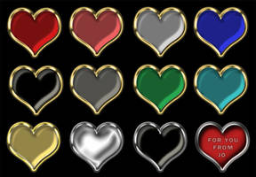 12 Heart PNG Buttons by gojol23