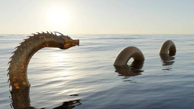 Golden Dragon in the Seas