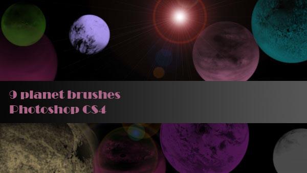 Planet brushes - set of 9 for Photoshop CS4 by Shizuru117