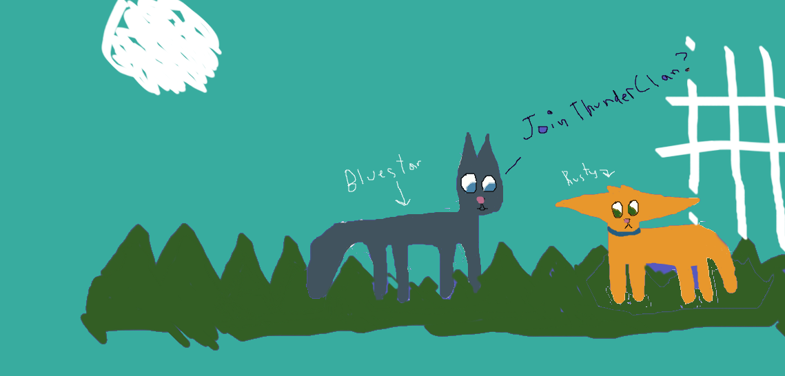 Bluestar asks Rusty to join ThunderClan. by Avraplikesstuff