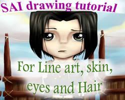 SAI tutorial: Line art, skin, eyes and hair by Discarbia