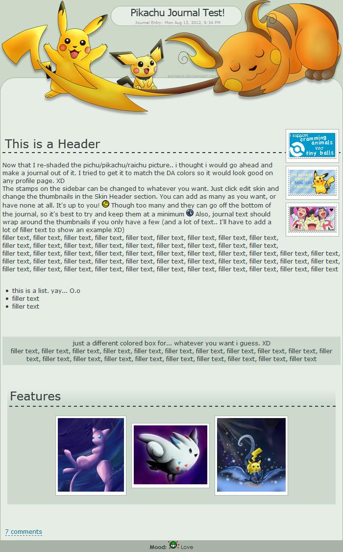 Pikachu Evolutions Journal Skin by Batnamz