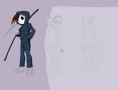 Grim Tales AU1 - Grim Jr., Minnie, and Mimi WIP 1