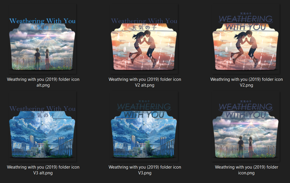 Weathering With You 2019 Folder Icons Pack By Sithshit On Deviantart