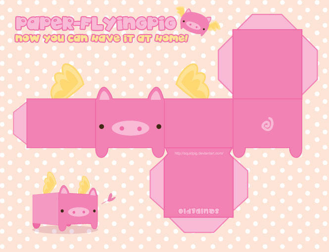 Paper Flying Pig by SquidPig
