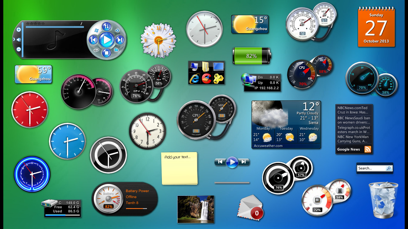 Windows Vista-7 Gadgets PACK for xwidget