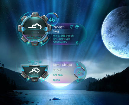 Galaxian Clock Weather 2 for xwidget