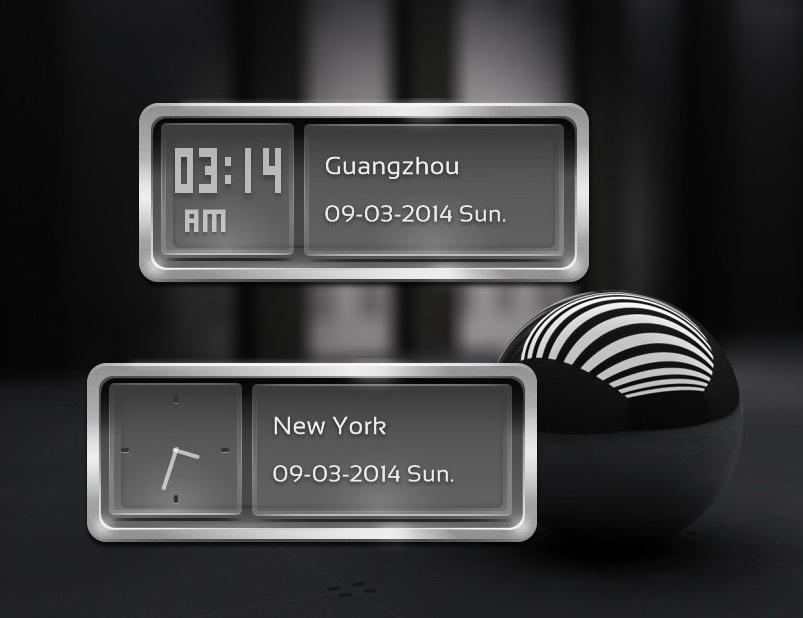 Metal Glass Clock for xwidget by jimking