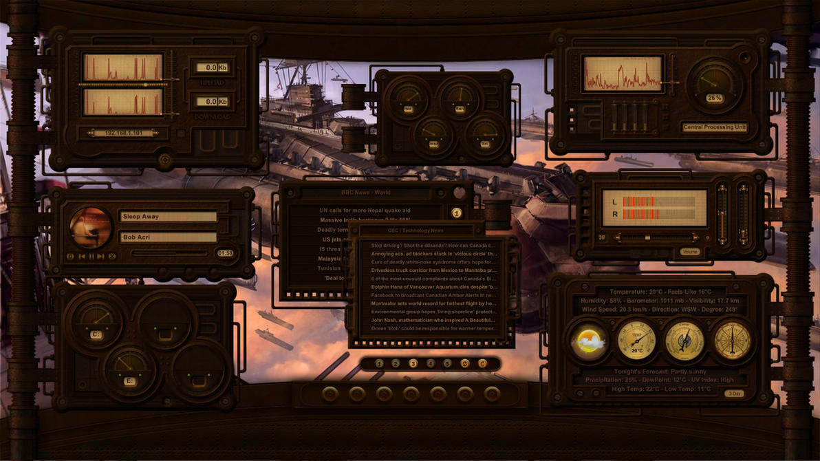 Rusty Plates and Pipes - Steampunk HUD for xwidget by jimking