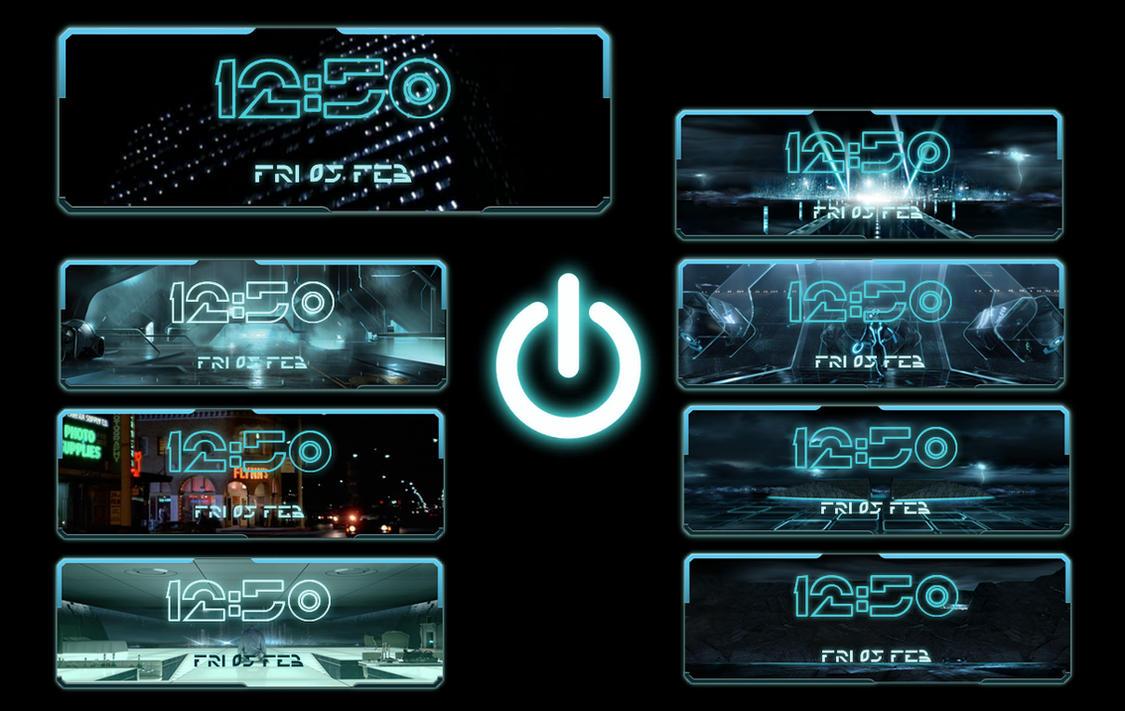 Tron Digital Screen Clock for xwidget by jimking