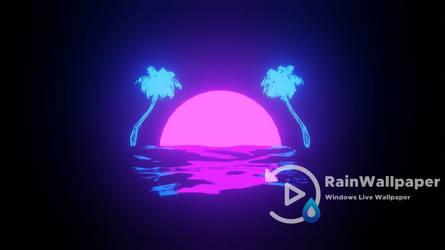 Retro Sun Coconut Trees by Jimking
