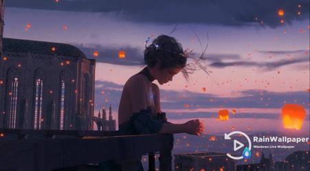 Sad Princess-Sky Lanterns by Jimking