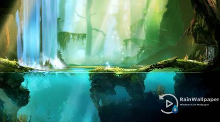 Waterfall Underwater View by Jimking