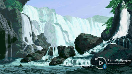 Pixel Day and Night Waterfall by Jimking