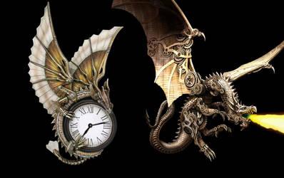 Steampunk Dragon Clock for xwidget by Jimking