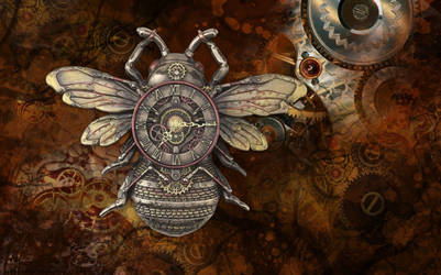Steampunk Bee Clock (animated) for xwidget by Jimking