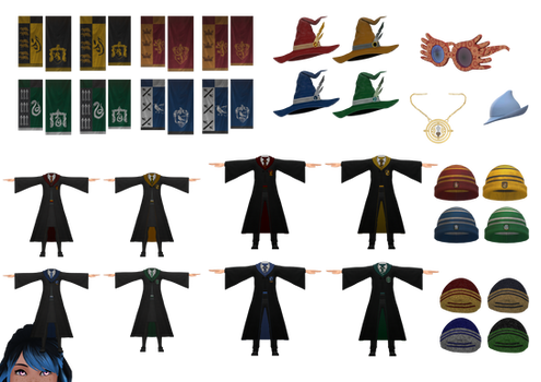 [MMD] Hogwarts Robes and Accessories (+DL)